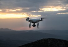 A solitary drone in the sky