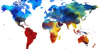A colorful brush map of the world