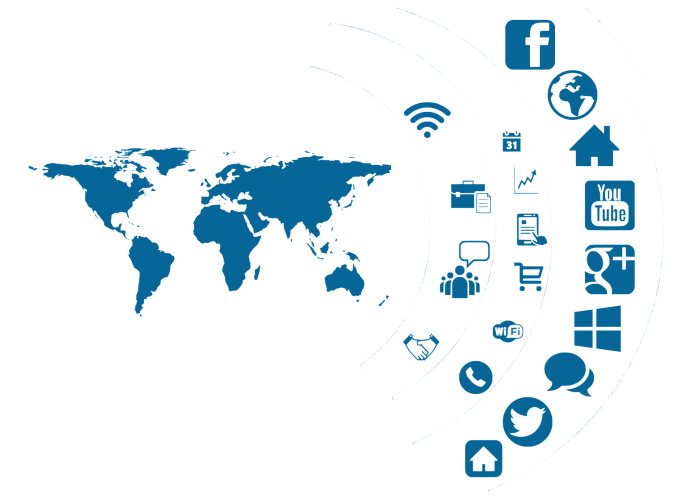 World map with social media icons superimposed   Aspioneer