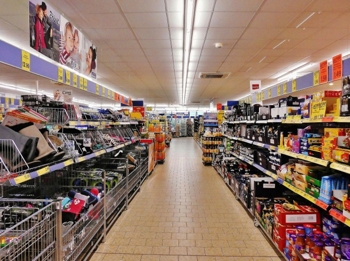 A supermarket aisle filled with products