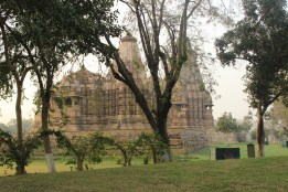 The monuments viewed beyond the trees of the complex