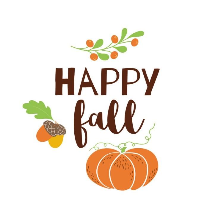 Happy Fall autumn greeting card pumpkin acorn leves Modern hand written banner vector orange