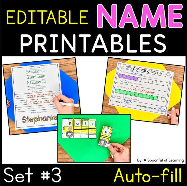 Examples of the completed name activities that are included in these name printables set 3.