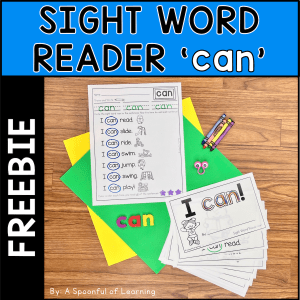 An example of the sight word reader and completed extension activity that is included in this free sight word reader for the sight word 'can'.
