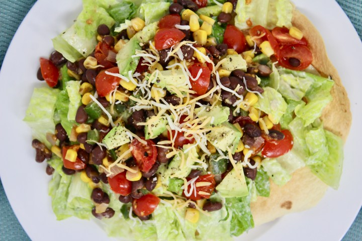 Vegetarian Mexican Taco Salad with Avocado Vinaigrette