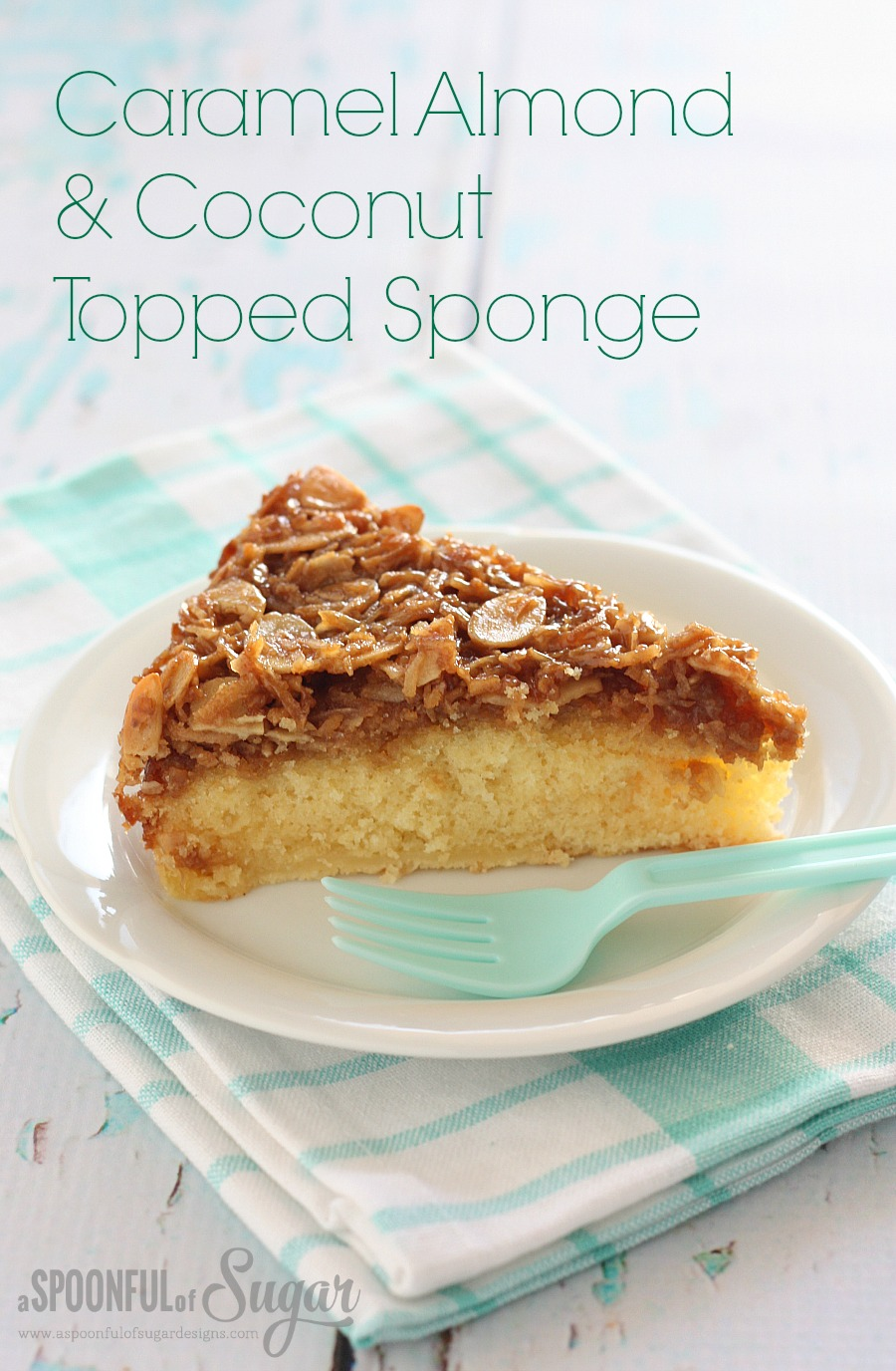 Caramel Almond and Coconut Topped Sponge