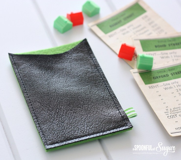 Leather and Felt Business Card Wallet