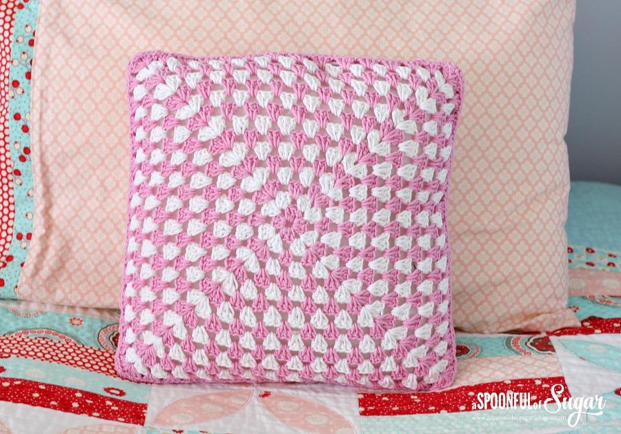 Crochet Granny Square Pillow A Spoonful Of Sugar