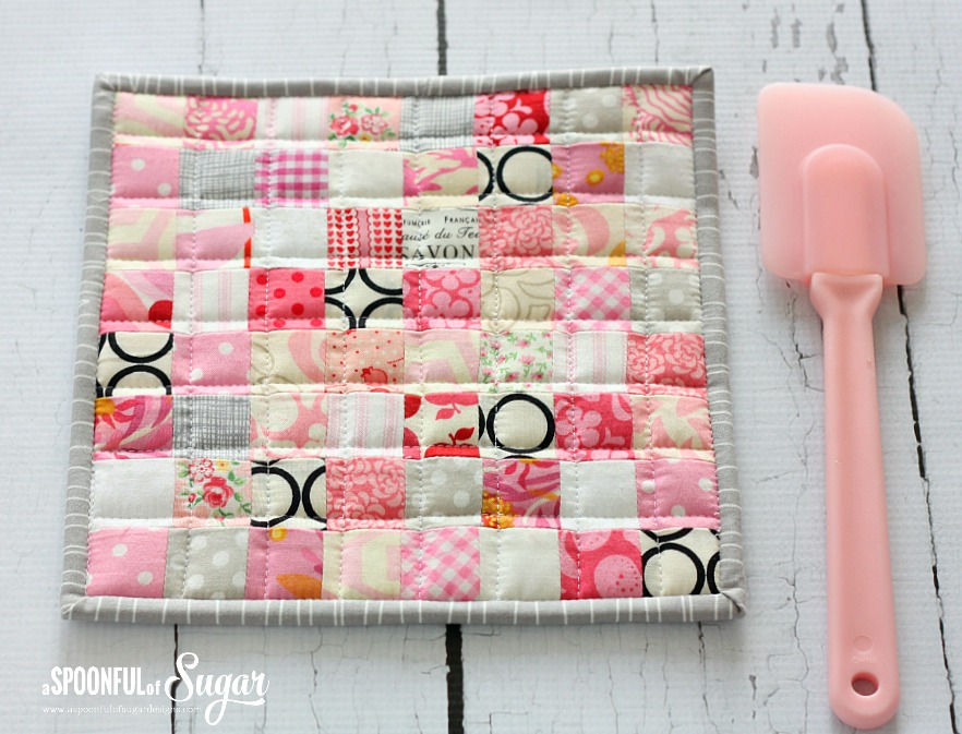 Postage Stamp Pot Holder And Fabric Scraps
