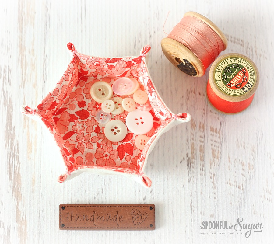 Hexagon Fabric Tray Tutorial by A Spoonful of Sugar