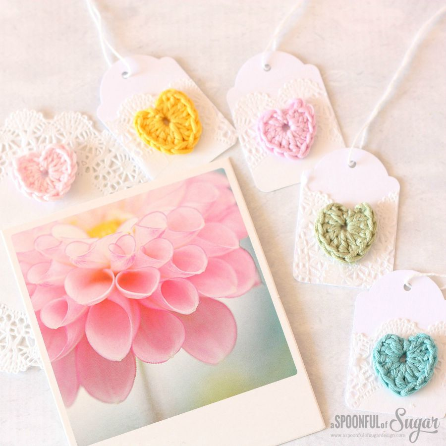 Mini Crochet Heart Gift Tags by A Spoonful of Sugar