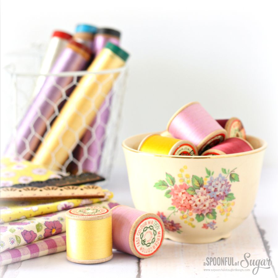 Pretty Sewing Supplies and Vintage Spools by A Spoonful of Sugar