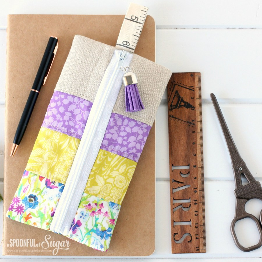 Liberty Pencil Case made using a free sewing tutorial from A Spoonful of Sugar