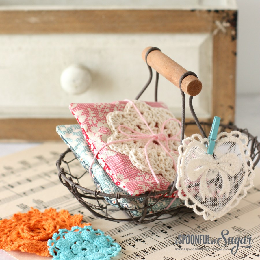 Lavender Sachets featuring crochet and Tilda fabric - free tutorial by A Spoonful of Sugar