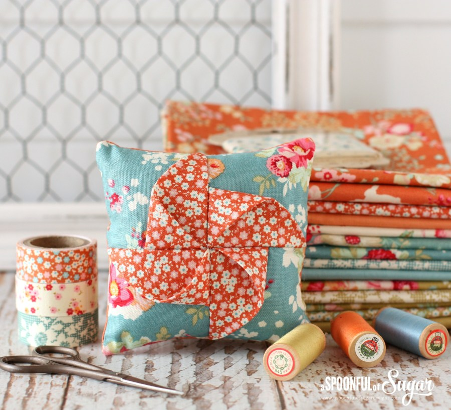 Pinwheel Pincushion made using Tilda Memory Lane and Cabbage Roses fabric