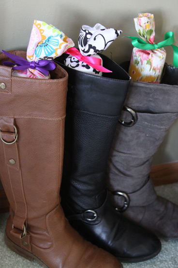 Cover POOL NOODLES in pretty fabrics to keep your longer boots standing up straight! | Easy Tutorial: A Spotted Pony - Closet Organization Ideas and Space Saving Hacks