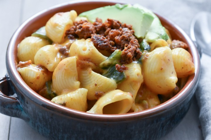 Mac and Cheese with Chorizo and Roasted Poblanos