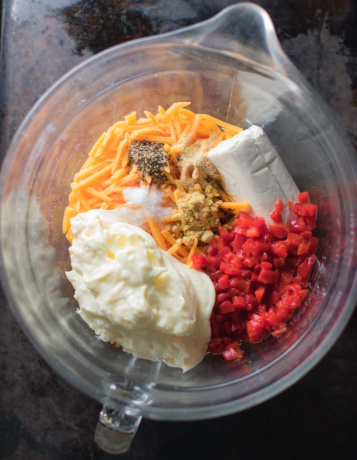 Quick Homemade Southern Pimiento Cheese ingredients in bowl | asprinkleandasplash.com