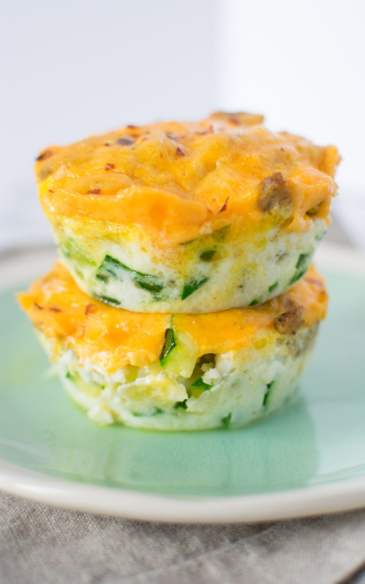 Two egg muffins stacked up