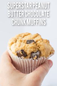 Superstar Peanut Butter Chocolate Chunk Muffins pin image