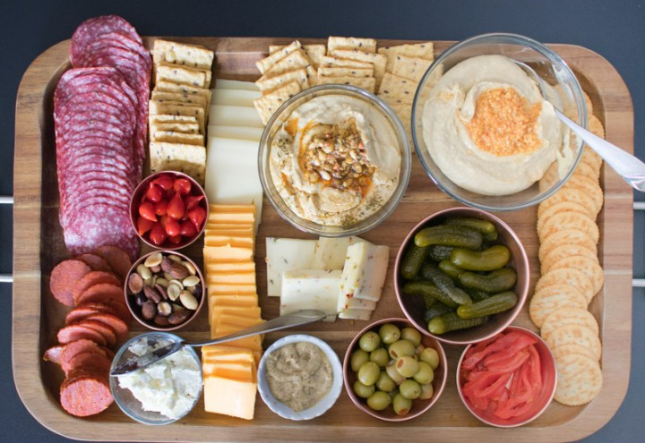 Overhead view of charcuterie board