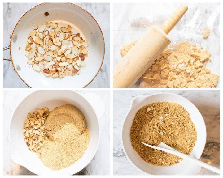 Four step by step photos showing how to make the almond graham cracker crumb crust for the Orange Crunch Cupcakes