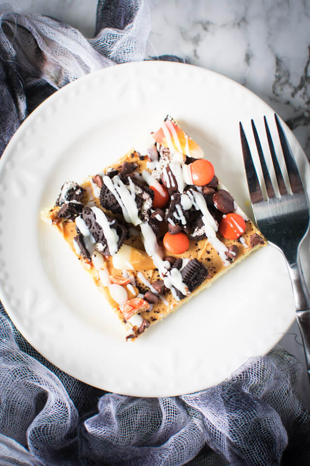 Overhead view of Halloween Sugar Cookie Pizza on plate