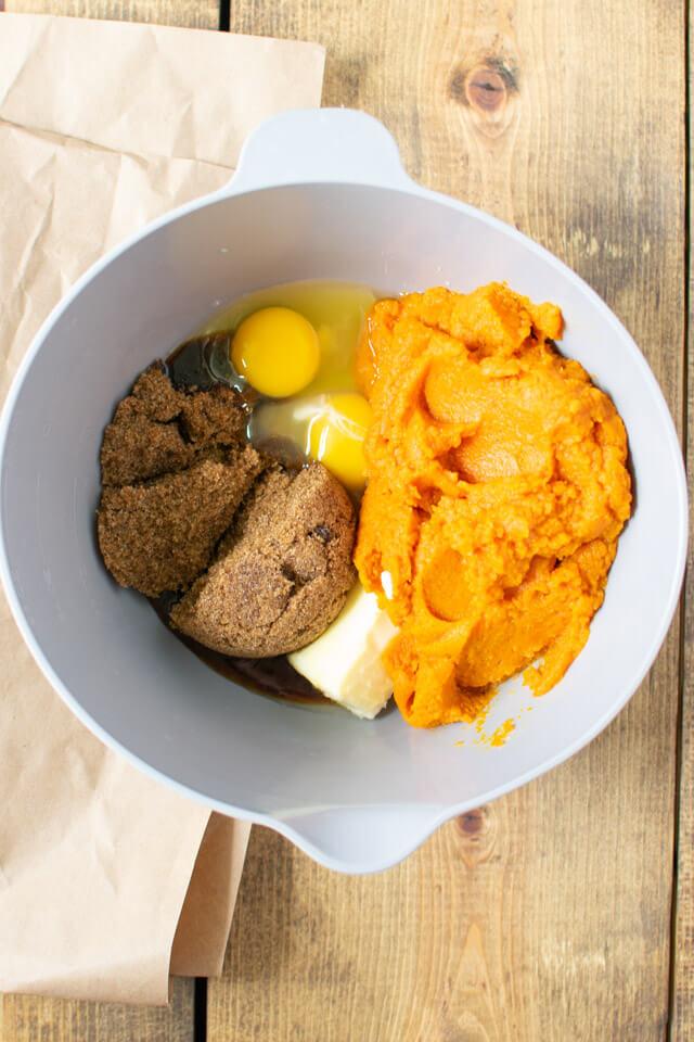 Overhead view of pumpkin batter ingredients