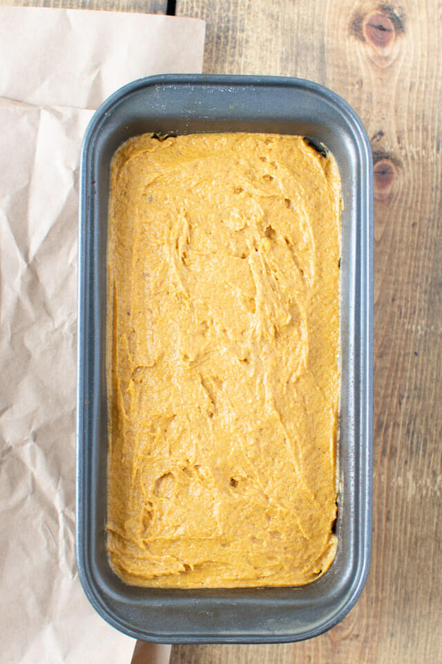 pumpkin cheesecake bread ready to be baked