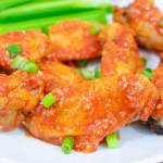 Closeup of hot garlic air fryer chicken wing