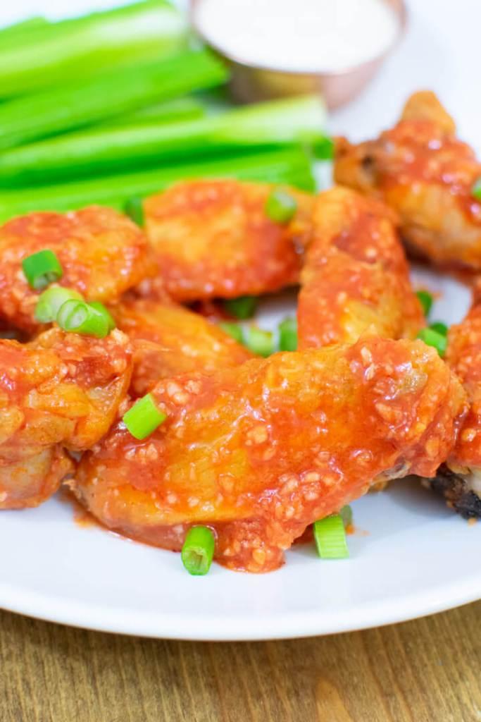 Closeup of hot garlic air fryer chicken wing