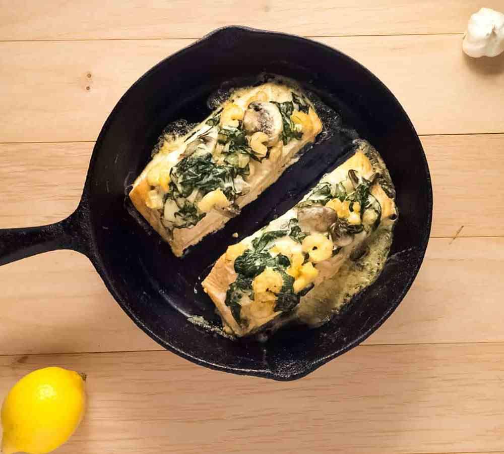 Grain Free & Gluten Free Shrimp & Spinach Stuffed Salmon. | https://asprinklingofcayenne.com