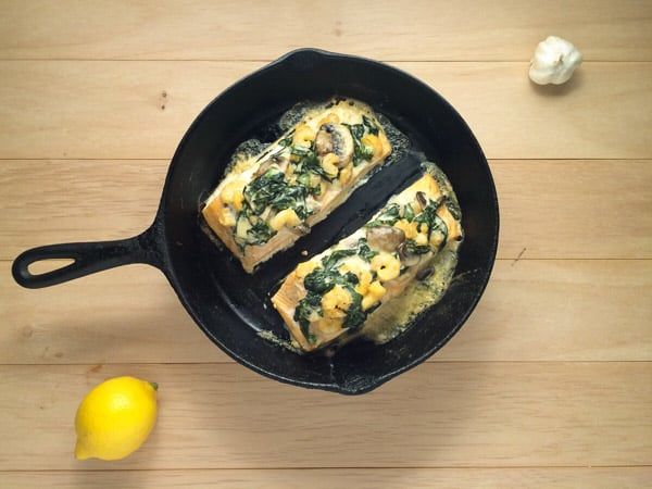 spinach and shrimp stuffed salmon