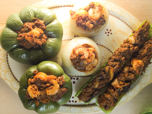 cooked stuffed celery, onions and peppers