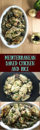 Mediterranean Baked Chicken and Rice https://asprinklingofcayenne.com/mediterranean-baked-chicken-and-rice/