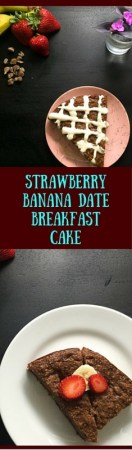 Gluten free and Paleo w/o icing, this scrumptious Strawberry Banana Date Breakfast Cake keeps well in the fridge all week. https://asprinklingofcayenne.com/strawberry-banana-date-breakfast-cake/
