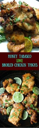 Gluten free Honey Tabasco Lime Broiled Chicken Thighs come together in no time !! https://asprinklingofcayenne.com/honey-tabasco-lime-broiled-chicken-thighs/