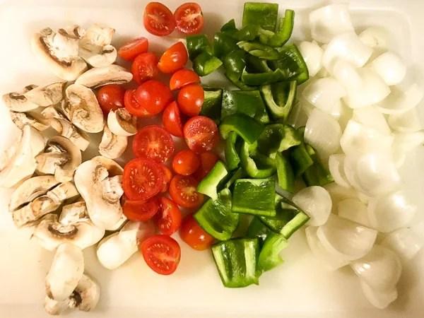 raw kebab vegetables