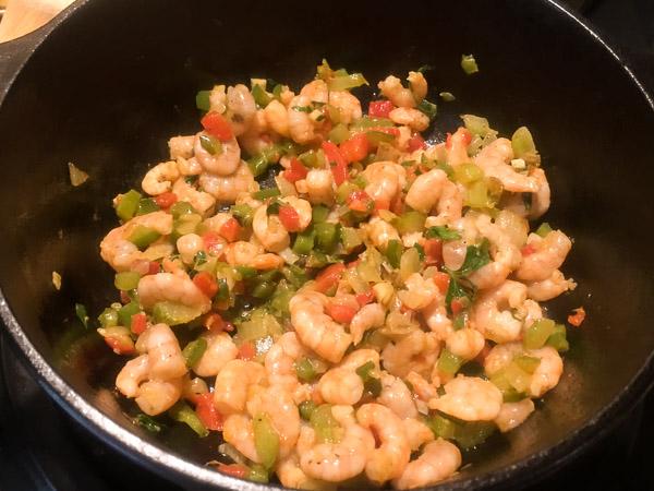 the cajun trinity, shrimp and pimentos