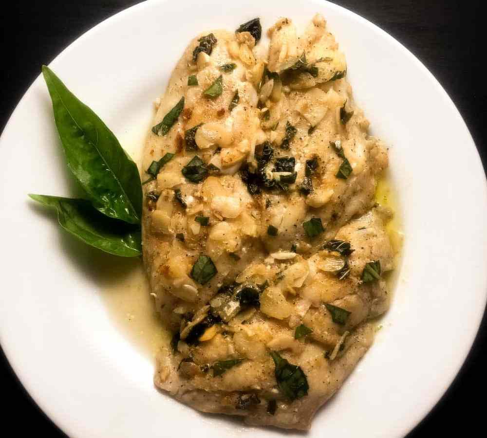 Pan Seared Grouper with Basil Brown Butter Sauce   https://asprinklingofcayenne.com