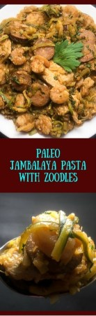 Authentic south Louisiana low carb, gluten free, and Paleo Jambalaya Pasta with Zoodles from https://asprinklingofcayenne.com.