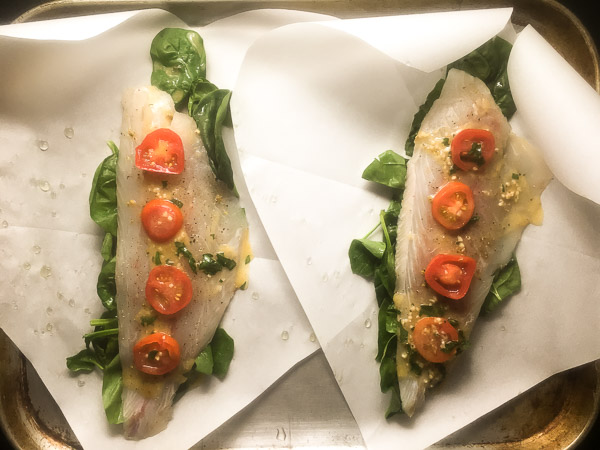 Preparation for Louisiana Redfish in Parchment Paper | https://asprinklingofcayenne.com