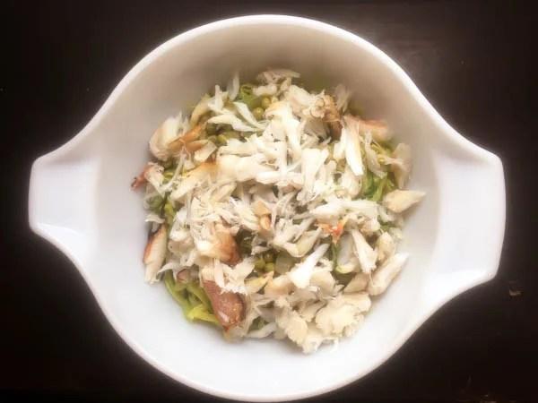 Crab and pea zoodle salad ingredients. | https://asprinklingofcayenne.com