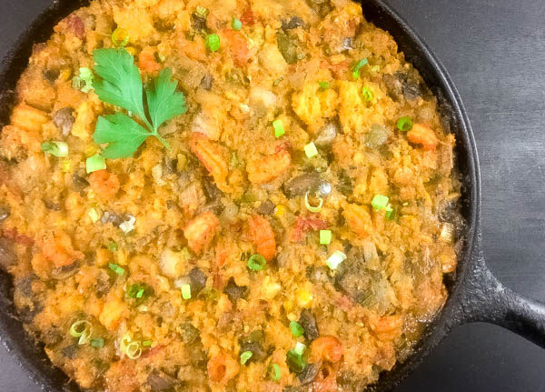 Cooled Gluten Free Cajun Cornbread Dressing from A Sprinkling of Cayenne. | https://asprinklingofcayenne.com