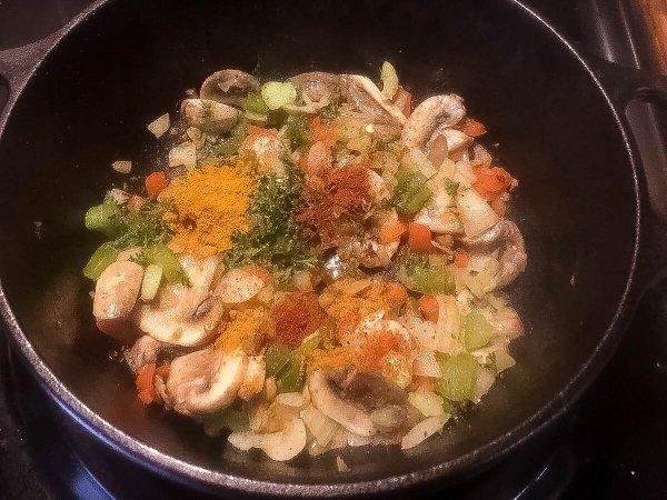 Seasoning mixture for Cajun Trinity Turmeric Rice With Mushrooms. | http://asprinklingofcayenne.com