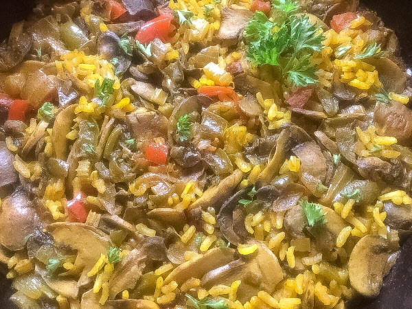 Close-up of Cajun Trinity Turmeric Rice With Mushrooms | http:\asprinklingofcayenne.com