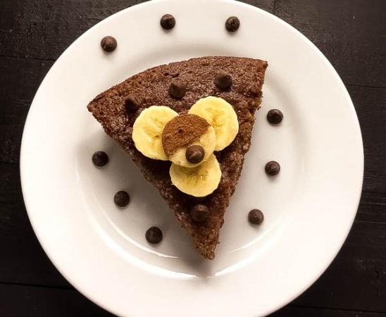 A slice of Grain Free Skillet Chocolate Chip Banana Bread.   http://asprinklingofcayenne,com