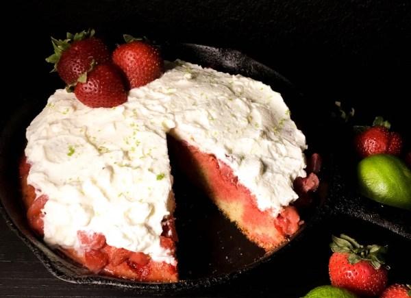 Side shot of Gluten Free Strawberry Cornbread Poke Cake from A Sprinkling of Cayenne. | https://asprinklingofcayenne.com