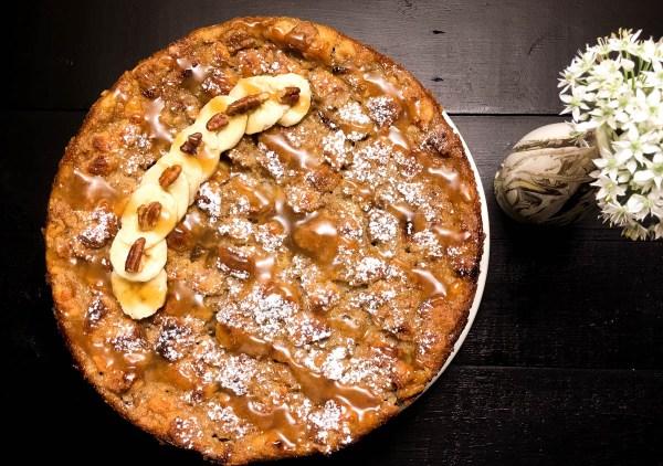 Gluten Free Bananas Foster Bread Pudding Cake. | http:/a/sprinklingofcayenne.com