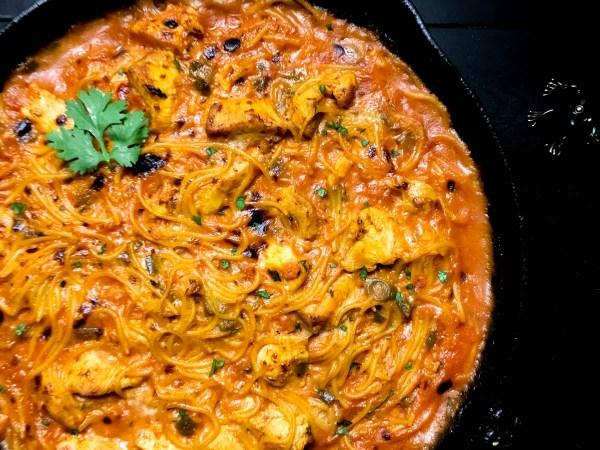 Close-up of Gluten Free Ranch Salsa Chicken Pasta from A Sprinkling of Cayenne food blog. | https://asprinklingofcayenne.com